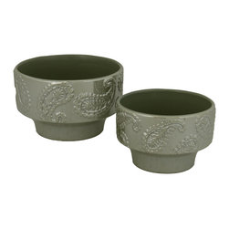 Selectives - Paisley Decorative Planter, Set of 2 - For spaces that need a little flair, just add this set of 2 sage green paisley planters which comes in 2 sizes.  These planters are made out of ceramic and showcase leaf design around the top
