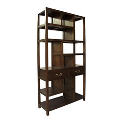 Noir - Noir - Ming Bookcase, Hand Rubbed Brown - Hand Rubbed Brown Mahogany Wood