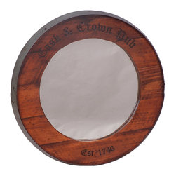 """mirrors - Made from wine barrel, oak with metal band, 26"""" diameter"""