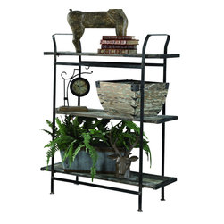 """Crestview - Crestview CVFZR315 Industrial Shelves - Industrial Shelves Industrial Shelves with Hand Painted Wood and Rusted Metal., 37.75"""" x 14.75"""" x 49.5""""  37.75"""" x 14.75"""" x 49.5"""""""