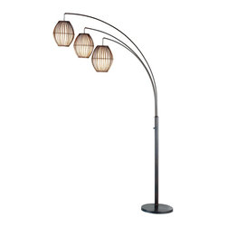 Adesso - Adesso Maui Arc Lamp - Adesso Maui Arc Lamp    Adjustable Curved Poles on a 12.5 Inch Round Base; On/Off Rotary Switch on the Pole    Three Barrel-Shaped Lanterns lined with Fabric-Like White Rice Paper    Shades: 10-inch Height,  8-inch Diameter    Lamp  Dimensions: 77 Height. Base: 2 Height    3 x 60 WattNeed more information on this product? Click here to ask.