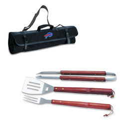 """Picnic Time - Buffalo Bills 3-pc BBQ Tote in Black - The Metro BBQ Tote stands out among other portable barbecue tool sets. It's a 3-piece BBQ tool set with silicone handles in an attractive black polyester zip-up case with an adjustable shoulder strap to match the handles of the tools inside. It includes three stainless steel tools: 1 large spatula featuring a built-in bottle opener, grill scraper, and serrated edge for cutting (17.5"""") , 1 BBQ fork (17""""), and 1 pair of tongs (16.5""""). All three tools have long handles to keep your hands away from the flames and metal loops at their ends to hang them on your barbecue. Why not add a little color to your day with the Metro BBQ Tote?; Decoration: Digital Print; Includes: 1 (25"""") spatula with built-in bottle opener, 1 (18.75"""") pair of tongs, and 1 (19"""") fork"""
