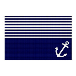 DiaNoche Designs - Area Rug by Organic Saturation - Navy Blue Love Anchor Nautical - Finish off your bedroom or living space with a woven Area Rug with Chevron pattern  from DiaNoche Designs. The last true accent in your home decor that really ties the room together. Maybe its a subtle rug for your entry way, or a conversation piece in your living area, your floor art will continue to dazzle for many years. 1/4 thick. Each rug is machine loomed, washed and pre-shrunk, printed, then hemmed on the edges.   Spot treat with warm water or professionally clean. Dye Sublimation printing adheres the ink to the material for long life and durability