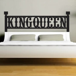 Headboard wall decals - Studies show that we spend 1/3 of our lives sleeping. So why not making your bedroom an inviting and pleasant place to be? Our King & Queen headboard is a removable wall decal to spruce your decor.