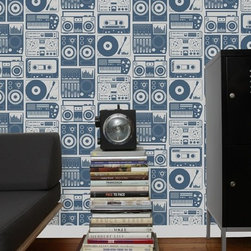 Aimee Wilder Wallpaper - Analog Nights - If you're a fan of two turntables and a microphone, you'll love this modern retro LP player wallpaper. It was made for the room where you enjoy music, a study, or rec room.