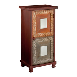 SEI - Medina Storage Cabinet - Add a colorful flair to any room with this lovely storage cabinet. The lovely, distressed finish and details highlight the vibrancies of spice and Asian style influence. This storage cabinet features a lovely rustic finish in red with orange and earthy accent panels on the door. The cabinet door has one decorative mirror per panel, as well as silver detailing. The inside of this cabinet features two stationary shelves for ample storage. This cabinet is perfect for any homes in need of a bright accent. It's a great option to add storage and style to the family room, bedroom or home office.