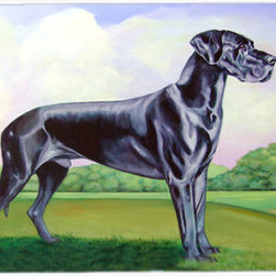 Caroline's Treasures - Great Dane Kitchen or Bath Mat 24x36 - Kitchen or Bath COMFORT FLOOR MAT This mat is 24 inch by 36 inch.  Comfort Mat / Carpet / Rug that is Made and Printed in the USA. A foam cushion is attached to the bottom of the mat for comfort when standing. The mat has been permenantly dyed for moderate traffic. Durable and fade resistant. The back of the mat is rubber backed to keep the mat from slipping on a smooth floor. Use pressure and water from garden hose or power washer to clean the mat.  Vacuuming only with the hard wood floor setting, as to not pull up the knap of the felt.   Avoid soap or cleaner that produces suds when cleaning.  It will be difficult to get the suds out of the mat.