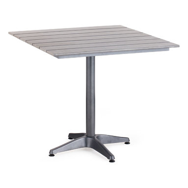 ZUO VIVA - Capital Square Dining Table Gray - The Capital Bar Table has a sturdy epoxy coated aluminum frame and a slatted faux wood top.