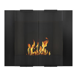 DecoFlame - City Modern Ventless Ethanol Wall Mounted Fireplace, Black - City provides an ultra-modern and sleek aesthetic to any space using its rectangular frame offered in stainless steel and black. This fireplace offers an eco-friendly flame that is odorless. Bio Ethanol, an alternative fuel source produced from plants, only emits water vapor and carbon dioxide into the air, therefore no chimney or flue is needed. Although ethanol fireplaces aren't intended for use as a primary heat source, the City model produces approximately 8,000 btu with the help of its stainless burner, which will change the noticeable temperature in a room of approximately 375 square feet. For aesthetic appeal and safety, this fireplace includes two tempered glass sliding doors that are situated in front of the flame. Appropriate for any modern or contemporary living space, City can be mounted on the wall using the included hardware.