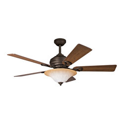 """Kichler - Contemporary 54"""" Kichler Meredith Distressed Black Ceiling Fan - This contemporary design ceiling fan is a striking balance of classic style and modern sensibility. A rich distressed black finish embraces the motor and frame complementing perfectly the Sunrise Marble glass of the integrated light kit. Get just the right setting easily with the full function CoolTouch control system with independent up and down light control. By Kichler. Distressed black finish. Sunrise Marble glass. Reversible cherry/walnut blades. Takes three 60 watt bulbs (not included). Full range dimming and intelligent return. Includes 6"""" and 12"""" downrods. Lifetime motor warranty. 14 degree blade pitch. 172 x 20mm motor size. 54"""" blade span. (IMAP)  Distressed black finish.  Sunrise Marble glass.  Reversible cherry/walnut blades.  Design by Kichler lighting.  Includes three 60 watt bulbs.  Full range dimming and intelligent return.  Includes CoolTouch control system-can be mounted or used as hand held remote.  Includes 6"""" and 12"""" downrods.  Lifetime motor warranty.  14 degree blade pitch.  172 x 20mm motor size.  54"""" blade span."""