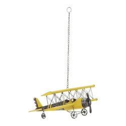 "Vintage Look Metal Plane Decor 69858 - Vintage Look Metal Plane Decor features yellow retro detailed biplane with metal chain hanger. 23"" W x 9"" H"