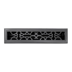 """Brass Elegans 120C DBZ Brass Decorative Floor Register Vent Cover - Victorian Sc - This dark bronze finish solid brass floor register heat vent cover with a victorian scroll design fits 2 1/4"""" x 14"""" x 2"""" duct openings and adds the perfect accent to your home decor."""