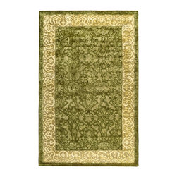 Safavieh - Spruce & Ivory Floral Area Rug (2 ft. 6 in. x 4 ft. Runner) - Size: 2 ft. 6 in. x 4 ft. Runner. Hand Tufted. Wool and Viscose. Made in IndiaSafavieh continues to explore the design potential of high-end hand-tufting with its new Silk Road Collection. The silky appearance of these damask-like patterns is the result of premium quality wool enhanced with mercerized Belgian linen. The designs blend influences from the East and West with French-inspired damask motifs in a softened color palette combined with traditional tree of life cypress borders.