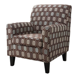 Armen Living - Armen Living Fiesta Cream Circles Fabric Club Chair - Armen Living - Club Chair - LC2010FACR - Very comfortable club chair for either a living room or a family room. Easy to decorate with. Armen Living is the quintessential modern-day furniture designer and manufacturer. With flexibility and speed to market Armen Living exceeds the customers expectations at every level of interaction. Armen Living not only delivers sensational products of exceptional quality but also offers extraordinarily powerful reliability and capability only limited by the imagination. Our client relationships are fully supported and sustained by a stellar name legendary history and enduring reputation. The groundbreaking new Armen Living line represents a refreshingly innovative creative collaboration with top designers in the home furnishings industry. The result is a uniquely modern collection gorgeously enhanced by sophisticated retro aesthetics. Armen Living celebrates bold individuality vibrant youthfulness sensual refinement and expert craftsmanship at fiscally sensible price points. Each piece conveys pleasure and exudes self expression while resonating with the contemporary chic lifestyle.