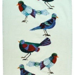 Early Birds Tea Towel - Birds will be returning to serenade outside my open windows soon. While I wait, I can enjoy their plumage with this adorable bird tea towel.