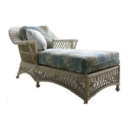 Spice Island Wicker - Upholstered Chaise Lounge (Palm Floral Garden - All Weather) - Fabric: Palm Floral Garden (All Weather)Includes cushions. Casual style. Made from wicker. No assembly required. 66 in. L x 35 in. W x 35 in. H (45 lbs.)