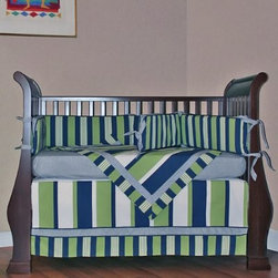 "Hoohobbers Lacrosse 4 Piece Crib Bedding Set - Stripes and checks meet midfield in the Hoohobbers Lacrosse 4 Piece Crib Bedding Set generated by a sporting mix of kelly green and navy with mini gingham accents. This baby bedding ensemble includes an extra large blanket coordinating bumper pads a crib skirt (or dust ruffle) and a matching sheet. Remove the bumper inserts before washing the pad covers so re-inserted bumpers retain their shape. Hoohobbers' products have been granted patents received design awards written about in national consumer publications and honored with a """"Parents Choice"""" award.About HoohobbersBased in Chicago Hoohobbers has designed and manufactured its own line of products since 1981 beginning with the now-classic junior director's chair. Hoohobbers makes both hard goods (furniture) and soft goods. Hoohobbers' hard goods are not your typical furniture products; they fold are lightweight and portable and are made to be carried by children all around the house. Even outdoors Hoohobbers' hard goods are 100 percent water-safe. At the same time they are plenty durable and can take the abuse children often give. Hoohobbers' soft goods are fabric items ranging from bibs to bedding from art smocks to Moses baskets.Hoohobbers' products are recognized by independent third parties for their quality and performance. Hoohobbers has received Best Design Awards from America's Juvenile Products Association each time selected from more than 20 000 products. Hoohobbers has also received the Parents' Choice Award and no Hoohobbers product has ever been subject to consumer recall. Furthermore the company's products are often featured in leading women's and children's publications."
