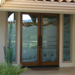 "Fairway Views Glass Entry Door (Outside) - Glass Front Doors, Entry Doors that Make a Statement! Your front door is your home's initial focal point and glass doors by Sans Soucie with frosted, etched glass designs create a unique, custom effect while providing privacy AND light thru exquisite, quality designs!  Available any size, all glass front doors are custom made to order and ship worldwide at reasonable prices.  Exterior entry door glass will be tempered, dual pane (an equally efficient single 1/2"" thick pane is used in our fiberglass doors).  Selling both the glass inserts for front doors as well as entry doors with glass, Sans Soucie art glass doors are available in 8 woods and Plastpro fiberglass in both smooth surface or a grain texture, as a slab door or prehung in the jamb - any size.   From simple frosted glass effects to our more extravagant 3D sculpture carved, painted and stained glass .. and everything in between, Sans Soucie designs are sandblasted different ways creating not only different effects, but different price levels.   The ""same design, done different"" - with no limit to design, there's something for every decor, any style.  The privacy you need is created without sacrificing sunlight!  Price will vary by design complexity and type of effect:  Specialty Glass and Frosted Glass.  Inside our fun, easy to use online Glass and Entry Door Designer, you'll get instant pricing on everything as YOU customize your door and glass!  When you're all finished designing, you can place your order online!   We're here to answer any questions you have so please call (877) 331-339 to speak to a knowledgeable representative!   Doors ship worldwide at reasonable prices from Palm Desert, California with delivery time ranges between 3-8 weeks depending on door material and glass effect selected.  (Doug Fir or Fiberglass in Frosted Effects allow 3 weeks, Specialty Woods and Glass  [2D, 3D, Leaded] will require approx. 8 weeks)."