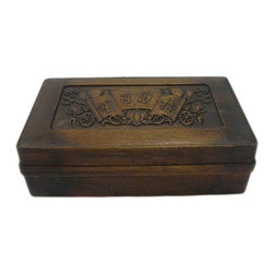 Golden Lotus - Hcs696-2 Chinese Huali Rosewood Handcrafted Storage Box - This is a decorative box made of Huali rosewood and crafted into rectangular shape with motif cover.