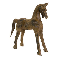 None - Hand-carved Wood Badan Horse Statue - This large spirited hand-carved wooden horse sculpture is a must have for horse or animal lovers. This stunning statue comes in rich brown wood and black highlights.
