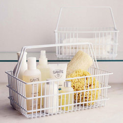 Milk Bottle Basket - Reminiscent of the milk bottle carriers that defined America in the 1950s, this wire-frame basket can be used to store all your essential toiletries. Its simple design will fit effortlessly with your existing d�cor and keep your bathroom organized.