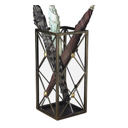 Button Umbrella Stand - Stately but not too formal for use in the current home, the Button Umbrella Stand is a functional piece which will find multiple practical and decor ative uses even on the sunniest of days. A tall openwork container made from lattice-like diamonds of wrought iron, the square metal stand employs domed beads of warmly-hued brass to join darker, more natural-looking bronze iron structures.