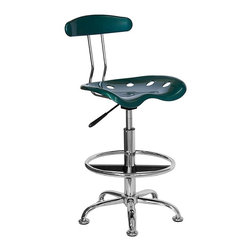 Flash Furniture - Drafting Stool with Molded Tractor Seat and B - Besides being a handsome drafting stool, this marvelous adjustable chair can also double as a bar or counter stool.  The height of the ingenious tractor style seat adjusts a full ten inches, making it suitable for so many tasks.  Built to last from high-density molded polymer and genuine polished chrome, it's an outstanding bargain at this price.  Select the vibrant green finish as shown, or check out the many other available options. Green and Chrome stationary drafting stool. Extremely unique and comfortable molded in. tractor in. seat. 10 in. height adjustment range. Adjusts to bar stool seat height. Chrome foot ring and base. High density polymer seat and back. Floor glides. Seat: 17 in. W x 15 in. D. Seat height: 22 3/4 in. - 31 1/4 in. H. Back: 14 in. W x 10.5 in. H. Overall: 17 in. W x 16.5 in. D x 32 in. - 40.5 in. H (13 lbs.)