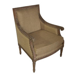 Noir - Noir - Isabelle Club Chair, Grey Wash - Grey washed mindi wood chair with burlap upholstery and antique nail head trim.