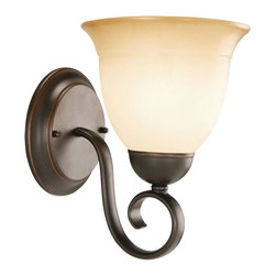 Design House - Cameron 1-Bulb Vanity Light - Bulb not included. Requires one E27 60 watt medium base incandescent bulb. Wall mounted. Graceful scroll detail on arm. Antique glass shade. Glare-free illumination and spot-on color rendition. Perfect for applying makeup. Suitable for damp locations. Corrosion resistant finish. Voltage: 120 volts. Suitable for up and down mounting. cULus listed. Oil rubbed bronze color. Back plate: 5.5 in. Dia.. Overall: 6.75 in. W x 8.5 in. D x 9 in. H (2.2 lbs.). WarrantyAdds warmth to any lavatory or bedroom. This product is designed for vanity lighting and blends traditional aesthetics with the latest trends in interior design. Providing your home with warm nurturing light, this product keeps bedrooms and lavatories well lit. This vanity light meshes modern construction with industry leading features. This product attests to the quality of all Design House products, and integrates traditional curves with the amenities of industry leading features.