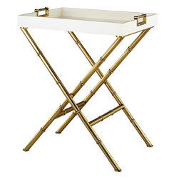 Robert Abbey - Jonathan Adler Meurice Side Table - Add a little glamour to your Hollywood Regency living room with this sleek side table. It will look fabulous sidled up to your sofa. And, the lacquered tray doubles as serving space for holding drinks and appetizers.