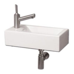Whitehaus - Isabella Wall Mount Sink w Center Drain - Includes mounting hardware. Faucet not included. Rectangular shaped. Single hole faucet drilling on left side. Made from porcelain. White color. Center drain: 1.75 in.. Inside: 13.75 in. W x 7.5 in. D x 4.13 in. H. Overall: 19.75 in. W x 9.87 in. D x 5.25 in. H (20 lbs.). Warranty