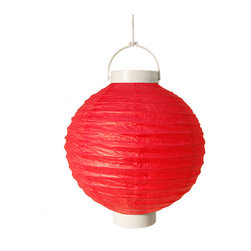 """LumaBase Luminarias - Paper Lanterns- Battery Operated (8"""") 3 Count Red - Battery operated round paper lanterns are an economical way to add color and dimension to your event. They will create a beautiful ambiance day or night. Use them on tree branches, under a party tent, above a dinner table or under a patio umbrella. They'll add a touch of flair and a festive feel any way you use them."""
