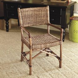 Woven Directors Chairs, Set of 2 - Add additional seating to any room with a set of these casual, woven chairs, reminiscent of the classic director's chair.  Made of seagrass, these chairs would look great in a room with a natural or seagrass rug.