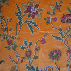 "Crewel Fabric World by MDS - Crewel Fabric Shalimar Bright Orange Cotton Velvet- Yardage - Inspiration: Shalimar is a pattern inspired by the beautiful gardens built by Shah Jahan the Mughal Emperor who built Taj Mahal. The word Shalimar means "" Abode of love"", ""HoUse of Joy"""