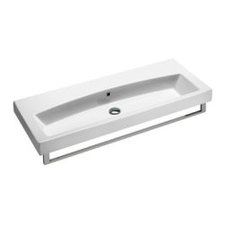 GSI - Stylish Ceramic Wall Mounted, Vessel, or Self Rimming Sink, No Faucet Hole - This gorgeous rectangular bathroom sink can be installed as a wall mounted, above counter vessel, or self rimming sink. Contemporary sink made out of high quality ceramic with a white finish. Sink includes overflow and comes with the option of no faucet holes, a single hole, or three holes. Towel bar sold separately.