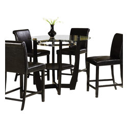 Homelegance - Homelegance Sierra 3-Piece Dining Room Set - The glass topped Sierra collection adds flair to any contemporary casual dining space. The ebony finish is set off by a chrome accent ring furthering its modern shape and appearance. Available in regular height and counter height. Made of select hardwoods and veneers, chairs covered in black bi-cast vinyl.