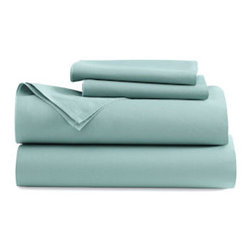 DWR Percale Sheet Set - Pastels can also be used to reinvent classic white pieces. Crisp sheets in pale aqua are much more interesting than white and just as inviting.