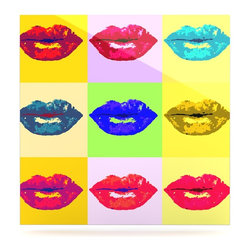 """Kess InHouse - Oriana Cordero """"Pop Kiss"""" Rainbow Lips Metal Luxe Panel (10"""" x 10"""") - Our luxe KESS InHouse art panels are the perfect addition to your super fab living room, dining room, bedroom or bathroom. Heck, we have customers that have them in their sunrooms. These items are the art equivalent to flat screens. They offer a bright splash of color in a sleek and elegant way. They are available in square and rectangle sizes. Comes with a shadow mount for an even sleeker finish. By infusing the dyes of the artwork directly onto specially coated metal panels, the artwork is extremely durable and will showcase the exceptional detail. Use them together to make large art installations or showcase them individually. Our KESS InHouse Art Panels will jump off your walls. We can't wait to see what our interior design savvy clients will come up with next."""