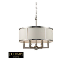 Elk Lighting - Elk Lighting 20154/6 Seven Springs 6-Light Chandelier in Satin Nickel - 6-Light Chandelier in Satin Nickel belongs to Seven Springs Collection by The Trump Home��_��_��__��__ Seven Springs Collection Reflects A Modern Take On The Traditional. Fine Workmanship Is Evident Throughout With Its Seamlessly Crafted L-Shaped Arms, Solid Metal Turnings, And A Satin Nickel Finish. Cream Fabric Shades Are Included. Chandelier(1)