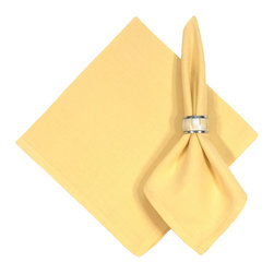 "Traders and Company - Hand Woven 100% Cotton Solid Butter Yellow 22""x22"" Napkins, Set of 6 - Butter - Imported hand-loomed 100% cotton napkins add a mark of color and elegance to your dining table. Napkin ring not included. Machine washable with similar colors in cold water, and cool dry. Made in India."