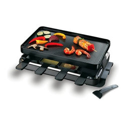 Swissmar - Swissmar - 8 Person Classic Raclette Party Grill - Swissmar - 8 Person Classic Raclette Party Grill - KF-77041   Try a traditional Swiss raclette dinner with this black enamelled stainless steel raclette. The non-stick reversible grill / crêpe top is excellent for grilling meats and veggies, and is perfect for grilling sandwiches, eggs, bacon, pancakes, and dessert crêpes. Variable heat control and 1200 watts for fast heating. Includes 8 heat-resistant spatulas and raclette dishes.