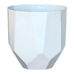 Quartz Faceted Ceramic Cup - Simply elegant with a touch of flair, the Quartz Faceted Ceramic Collection is comprised of your choice of small or large cups, or three sizes of bowls that can be used for a variety of uses including planters, office supply holders, kitchen accessories or whatever creative use you can dream up. Their faceted shapes make them unique and artsy and their stark white coloring gives them a transitional feel.