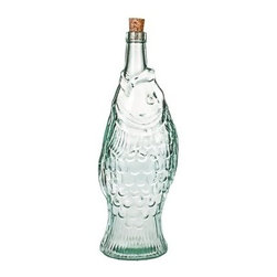 Global Amici Pesce Recycled Glass Bottle - Set of 2 - Gifting your infused oil or homemade liquor is even more fun when you use the Global Amici Pesce Recycled Glass Bottle - Set of 2. This set includes two fish-shaped, recycled glass bottles with slender neck and cork seal. About Global Amici Inc.Global Amici was established in 1982 on the sole principle of providing outstanding houseware products to its customers at a reasonable price. Each product focuses on design, functionality, and beauty. No matter what the occasion, Global Amici offers products that showcase style that can help transform ordinary food and everyday dining into a special presentation, not to be forgotten.