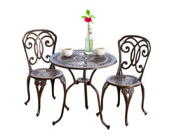 Great Deal Furniture - Budapest Outdoor 3-Piece Cast Aluminum Bistro Set - The Budapest bistro set is a beautiful addition for your outdoor decor. Made from cast aluminum, the set includes two (2) armless chairs and one (1) round mesh table. The features include decorative intricate details on the table and chair backrest, and the table also features a patio umbrella opening. The antique shiny copper finish is neutral to match any outdoor furniture and will hold up in any weather condition. Whether in your backyard, patio, deck or even your restaurant outdoor dining space, you'll enjoy this set for years to come.