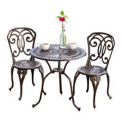 Great Deal Furniture - Budapest Outdoor 3pcs Cast Aluminum Bistro Set - The Budapest bistro set is a beautiful addition for your outdoor decor. Made from cast aluminum, the set includes two (2) armless chairs and one (1) round mesh table. The features include decorative intricate details on the table and chair backrest, and the table also features a patio umbrella opening. The antique shiny copper finish is neutral to match any outdoor furniture and will hold up in any weather condition. Whether in your backyard, patio, deck or even your restaurant outdoor dining space, you'll enjoy this set for years to come.