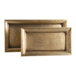 "Arteriors - Athens Trays - Set of 2 - This set of two rectangular hammered iron trays finished in antique brass have flat bottoms (no feet) making them perfect to rest on an ottoman or soft surface.  For decorative use only.  Large tray: 28 1/2"" w x 14"" d x 2"" h  Small tray: 21"" w x 12"" d x 1 1/2"" h"
