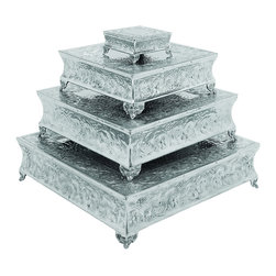 Urban Designs - Urban Designs Event Essentials Square Wedding Cake Stands - 4-Piece Set - Showcase your most impressive confections with this spectacular 4-Piece Case Stand Set.  A beautiful gift for incessant bakers, party planners, professional bakers and for a person than loves entertaining.