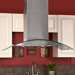 """42"""" Caselle Series Stainless Steel Island Range Hood - 860 CFM - The contemporary glass accents of the 42"""" Caselle Series Island Stainless Steel Range Hood will create a simple, modern style in your kitchen. This kitchen exhaust fan is designed for use over your island."""