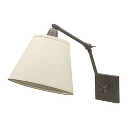 House Of Troy - House of Troy Library DL20 Collection Transitional Swing Arm Wall Lamp X-BO-02LD - This transitional swing arm wall lamp keeps the focus on functionality, which in this case is being able to have the perfect amount of light to read your favorite book. The swing arm puts the light above your head and adjusts to where you need it. The oil rubbed bronze finish and the off-white linen shade give this lamp a very classic look.