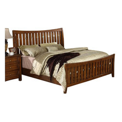 Riverside Furniture - Riverside Furniture Craftsman Home Slat Bed in Americana Oak Finish - Riverside Furniture - Beds - 2970MTYPE - Riverside's products are designed and constructed for use in the home and are generally not intended for rental, commercial, institutional or other applications not considered to be household usage.